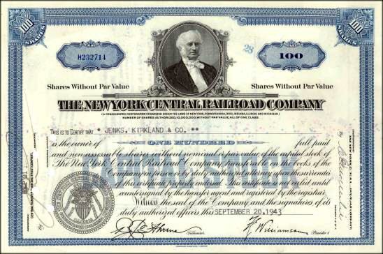New York Central Stock Certificate